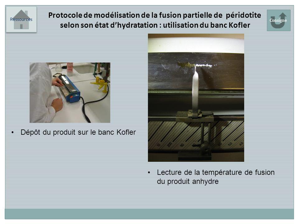 Ressources Lecture de la température de fusion du produit anhydre Protocole de modélisation de la fusion partielle de péridotite selon son état dhydra