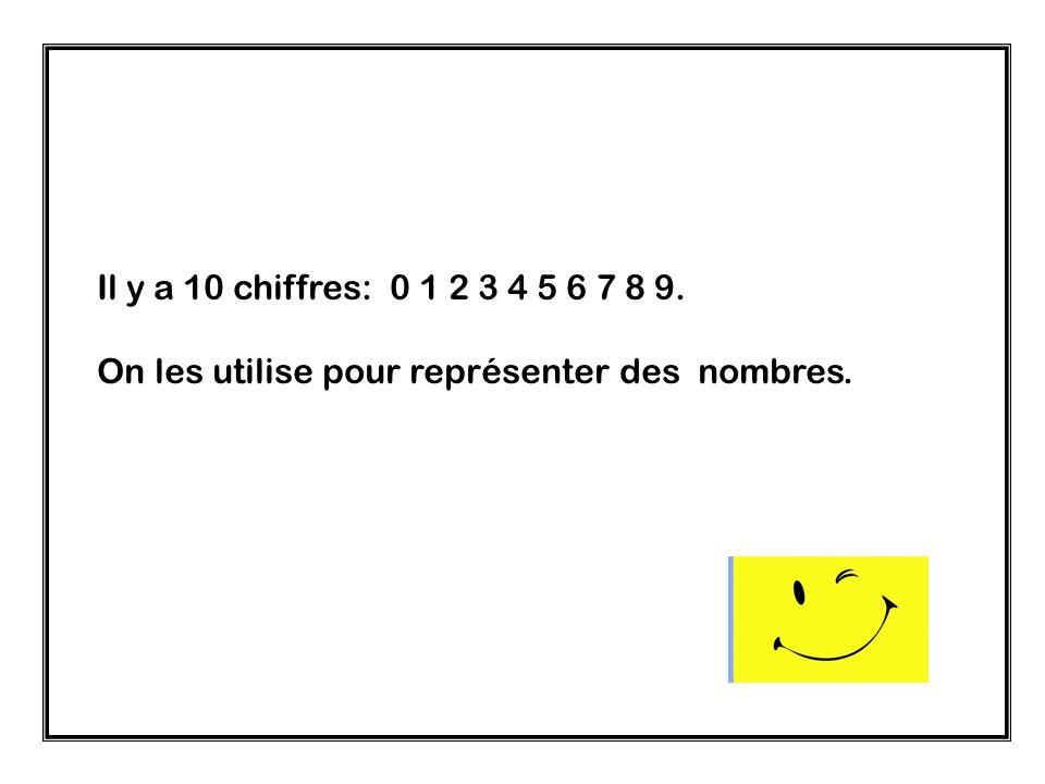 Il y a 10 chiffres: 0 1 2 3 4 5 6 7 8 9. On les utilise pour représenter des nombres.