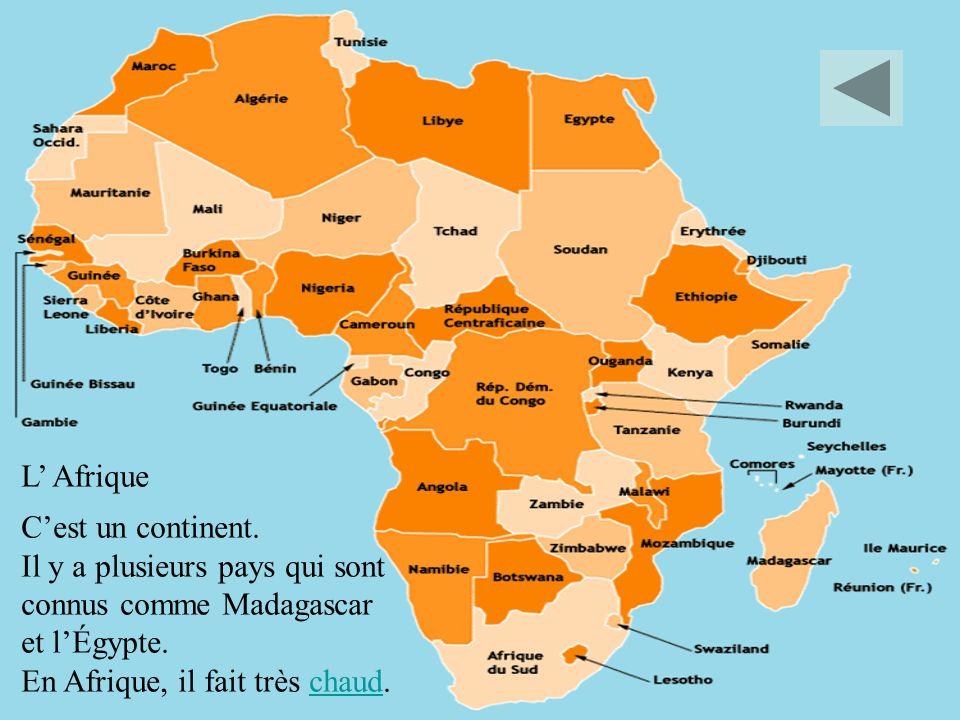 L Afrique Cest un continent. Il y a plusieurs pays qui sont connus comme Madagascar et lÉgypte. En Afrique, il fait très chaud.chaud