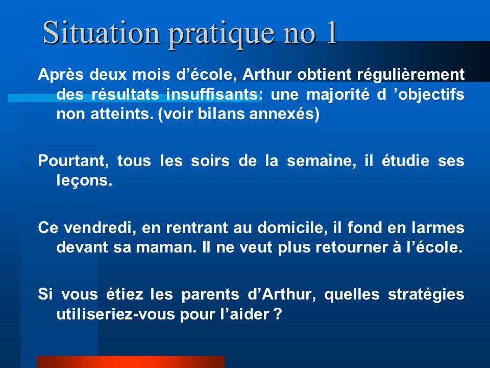 Situation pratique no 1 Après deux mois décole, Arthur obtient régulièrement des résultats insuffisants: une majorité d objectifs non atteints.