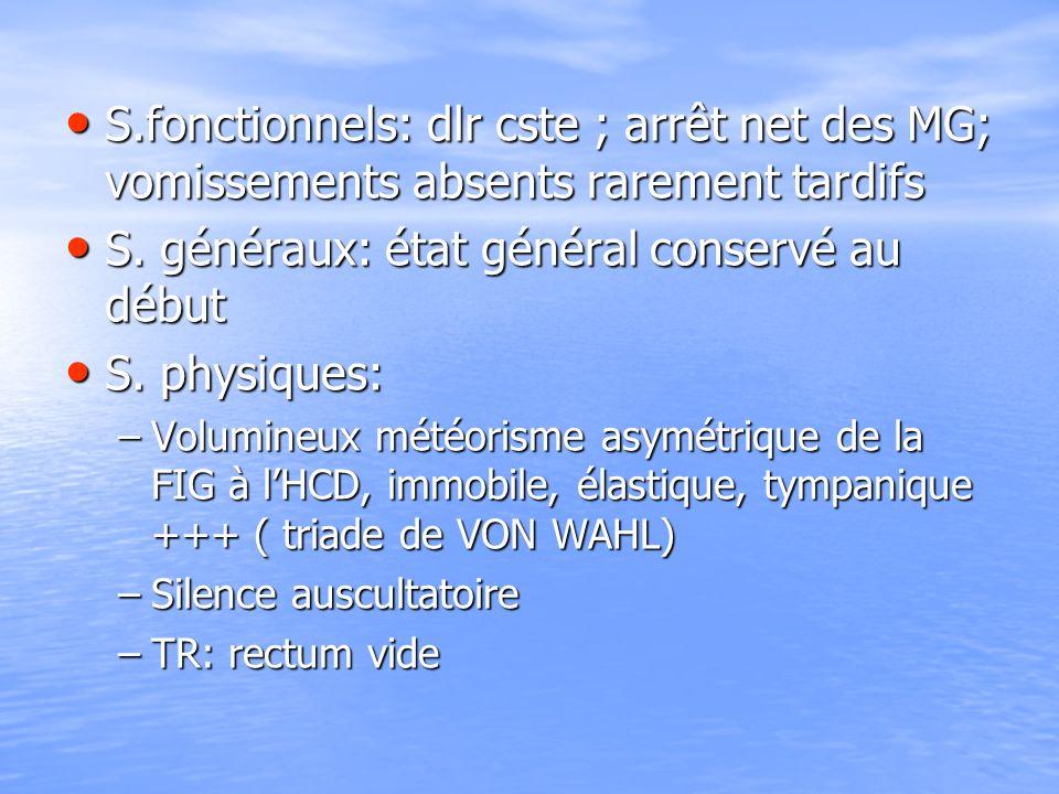 S.fonctionnels: dlr cste ; arrêt net des MG; vomissements absents rarement tardifs S.fonctionnels: dlr cste ; arrêt net des MG; vomissements absents r