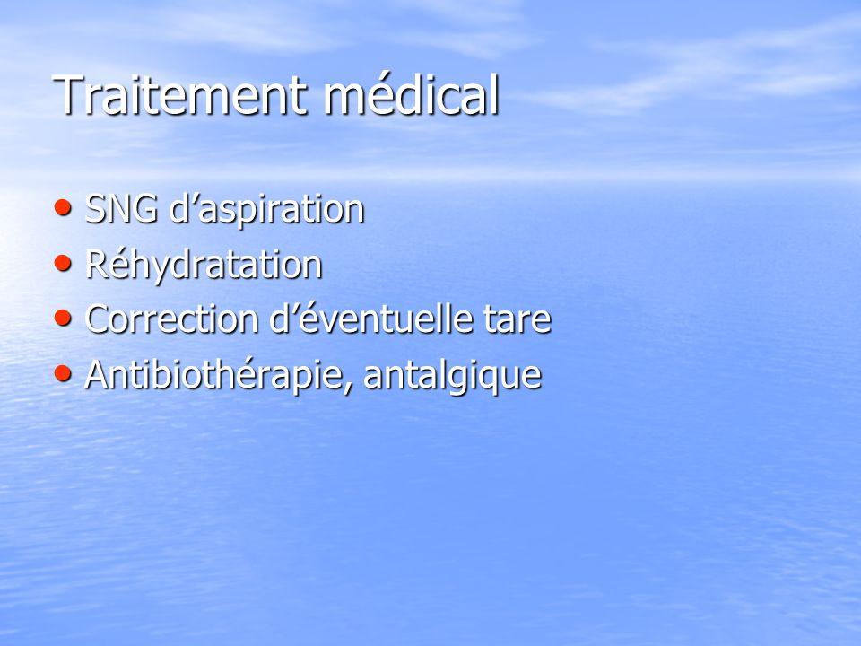 Traitement médical SNG daspiration SNG daspiration Réhydratation Réhydratation Correction déventuelle tare Correction déventuelle tare Antibiothérapie, antalgique Antibiothérapie, antalgique