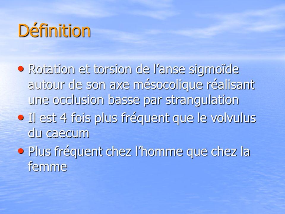 Définition Rotation et torsion de lanse sigmoïde autour de son axe mésocolique réalisant une occlusion basse par strangulation Rotation et torsion de lanse sigmoïde autour de son axe mésocolique réalisant une occlusion basse par strangulation Il est 4 fois plus fréquent que le volvulus du caecum Il est 4 fois plus fréquent que le volvulus du caecum Plus fréquent chez lhomme que chez la femme Plus fréquent chez lhomme que chez la femme