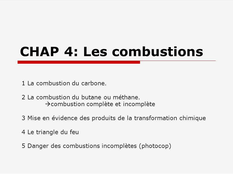 CHAP 4: Les combustions 1 La combustion du carbone. 2 La combustion du butane ou méthane. combustion complète et incomplète 3 Mise en évidence des pro