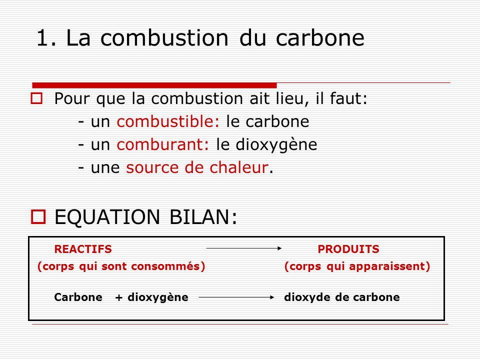 1. La combustion du carbone Pour que la combustion ait lieu, il faut: - un combustible: le carbone - un comburant: le dioxygène - une source de chaleu
