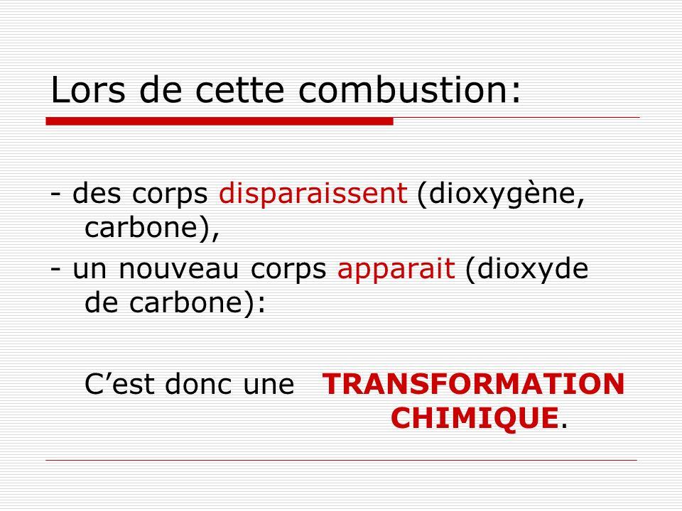 Lors de cette combustion: - des corps disparaissent (dioxygène, carbone), - un nouveau corps apparait (dioxyde de carbone): Cest donc une TRANSFORMATION CHIMIQUE.