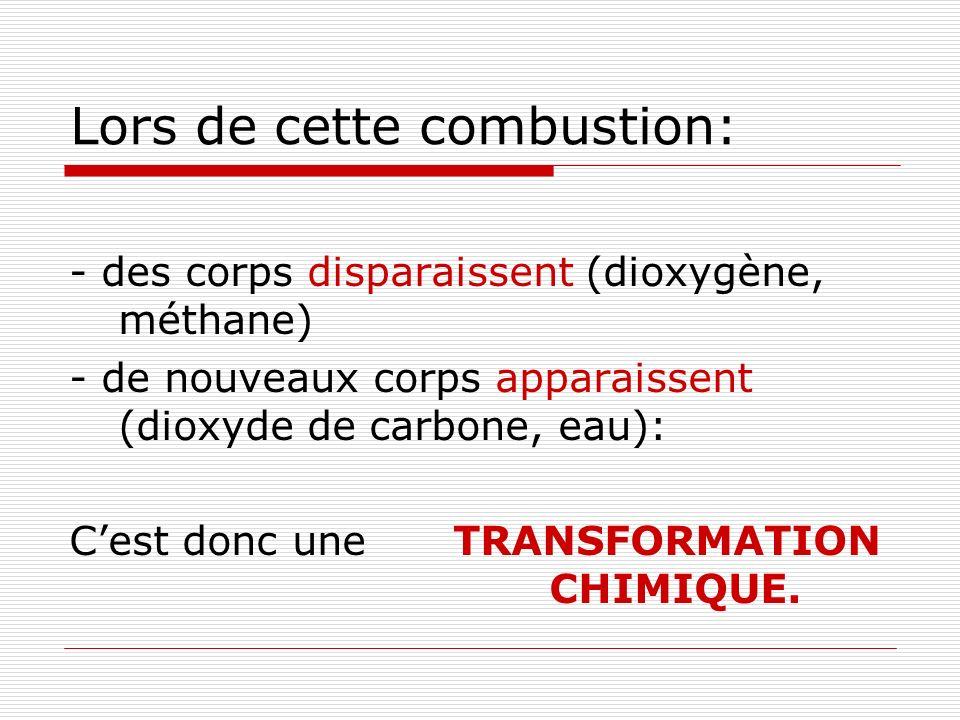 Lors de cette combustion: - des corps disparaissent (dioxygène, méthane) - de nouveaux corps apparaissent (dioxyde de carbone, eau): Cest donc uneTRANSFORMATION CHIMIQUE.