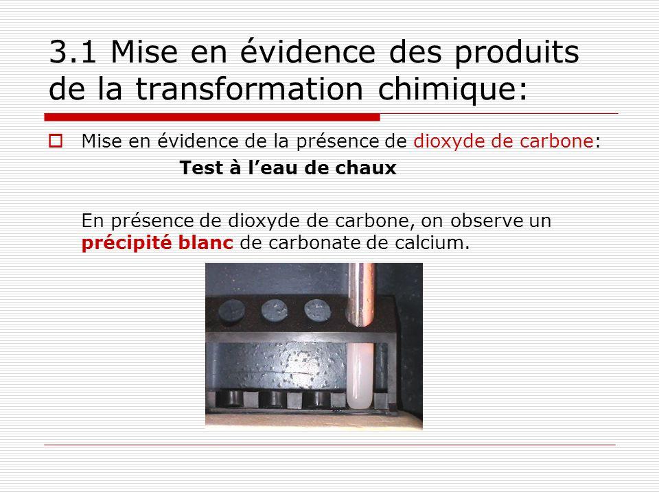 3.1 Mise en évidence des produits de la transformation chimique: Mise en évidence de la présence de dioxyde de carbone: Test à leau de chaux En présence de dioxyde de carbone, on observe un précipité blanc de carbonate de calcium.