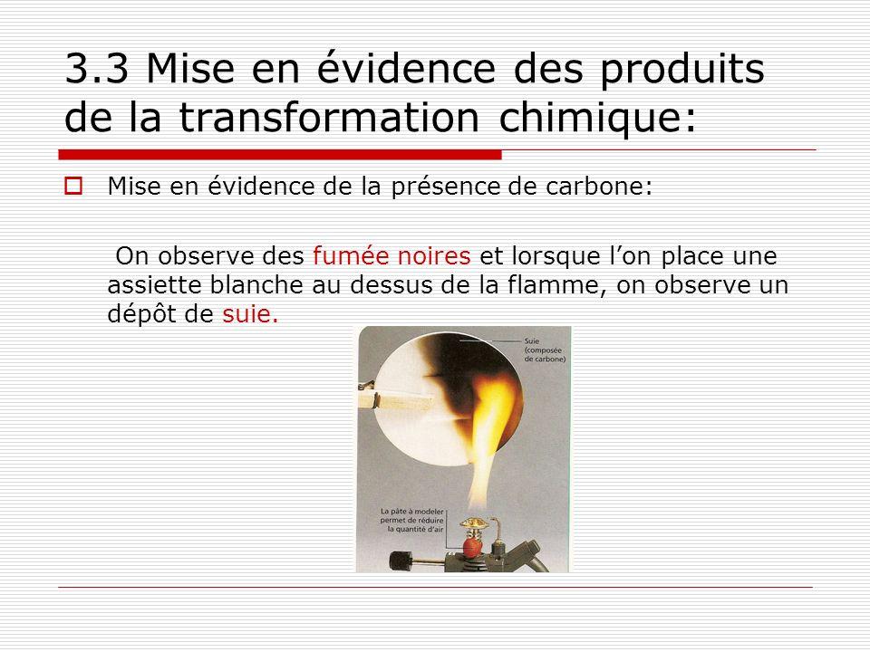 3.3 Mise en évidence des produits de la transformation chimique: Mise en évidence de la présence de carbone: On observe des fumée noires et lorsque lon place une assiette blanche au dessus de la flamme, on observe un dépôt de suie.
