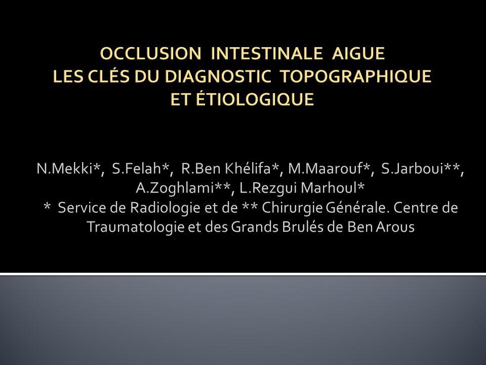 N.Mekki*, S.Felah*, R.Ben Khélifa*, M.Maarouf*, S.Jarboui**, A.Zoghlami**, L.Rezgui Marhoul* * Service de Radiologie et de ** Chirurgie Générale. Cent
