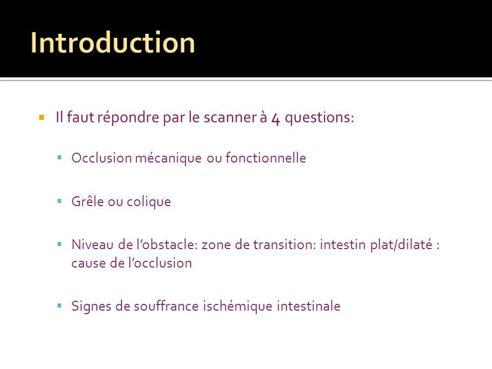 Il faut répondre par le scanner à 4 questions: Occlusion mécanique ou fonctionnelle Grêle ou colique Niveau de lobstacle: zone de transition: intestin