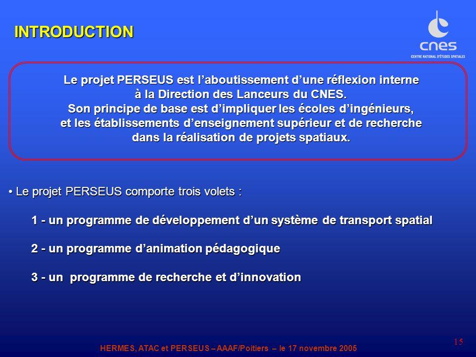 HERMES, ATAC et PERSEUS – AAAF/Poitiers – le 17 novembre 2005 15 Le projet PERSEUS comporte trois volets : Le projet PERSEUS comporte trois volets : 1