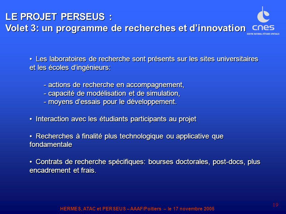 HERMES, ATAC et PERSEUS – AAAF/Poitiers – le 17 novembre 2005 19 LE PROJET PERSEUS : Volet 3: un programme de recherches et dinnovation Les laboratoir