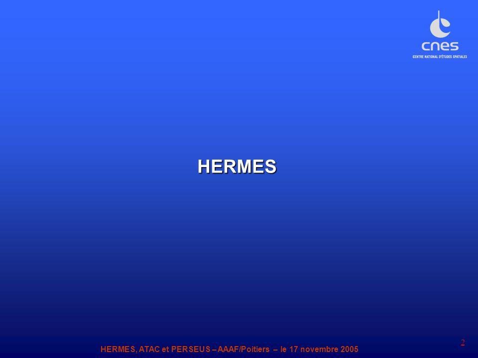 HERMES, ATAC et PERSEUS – AAAF/Poitiers – le 17 novembre 2005 2 HERMES
