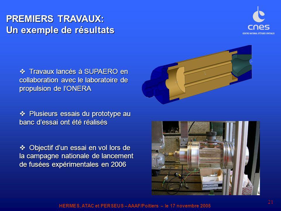 HERMES, ATAC et PERSEUS – AAAF/Poitiers – le 17 novembre 2005 21 Travaux lancés à SUPAERO en collaboration avec le laboratoire de propulsion de lONERA