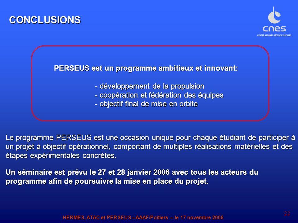 HERMES, ATAC et PERSEUS – AAAF/Poitiers – le 17 novembre 2005 22 PERSEUS est un programme ambitieux et innovant: PERSEUS est un programme ambitieux et