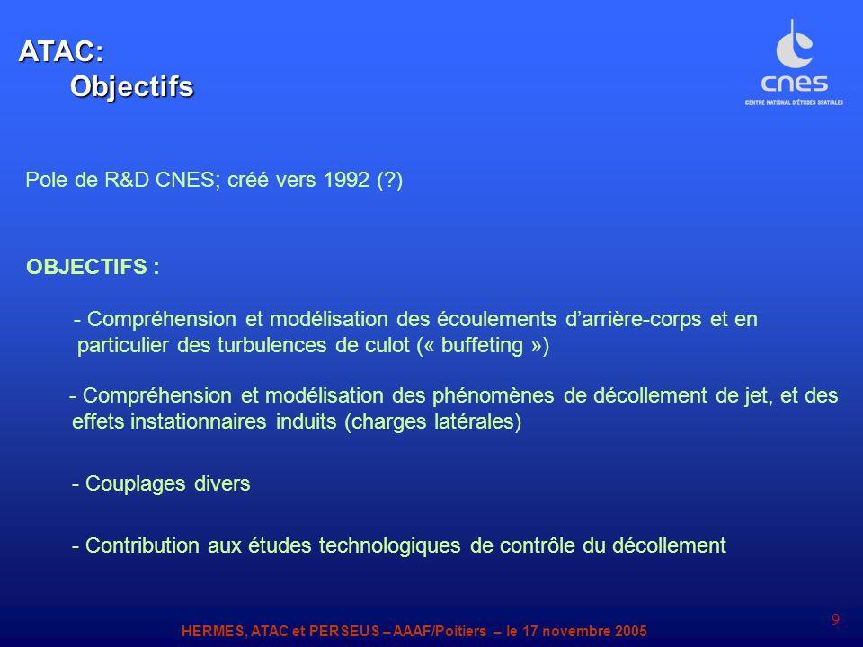 HERMES, ATAC et PERSEUS – AAAF/Poitiers – le 17 novembre 2005 9 - Compréhension et modélisation des phénomènes de décollement de jet, et des effets in