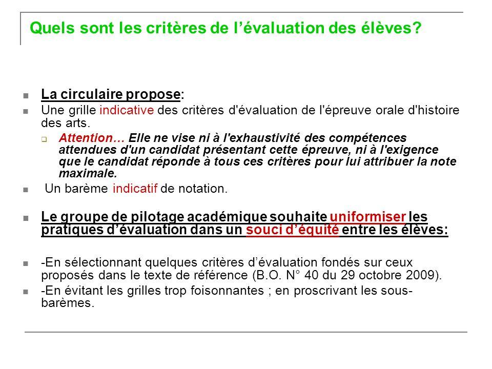 Quels sont les critères de lévaluation des élèves? La circulaire propose : Une grille indicative des critères d'évaluation de l'épreuve orale d'histoi