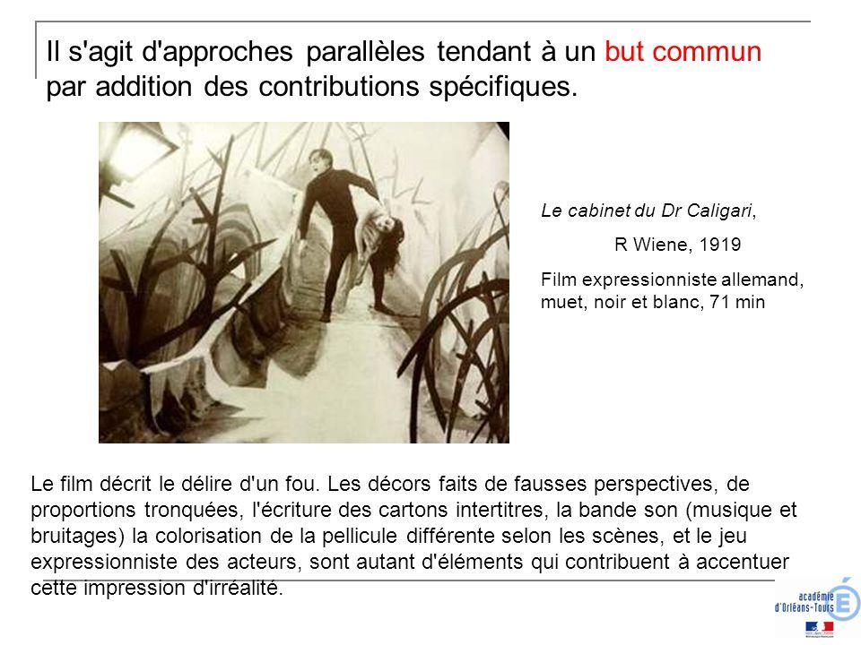 Il s'agit d'approches parallèles tendant à un but commun par addition des contributions spécifiques. Le cabinet du Dr Caligari, R Wiene, 1919 Film exp
