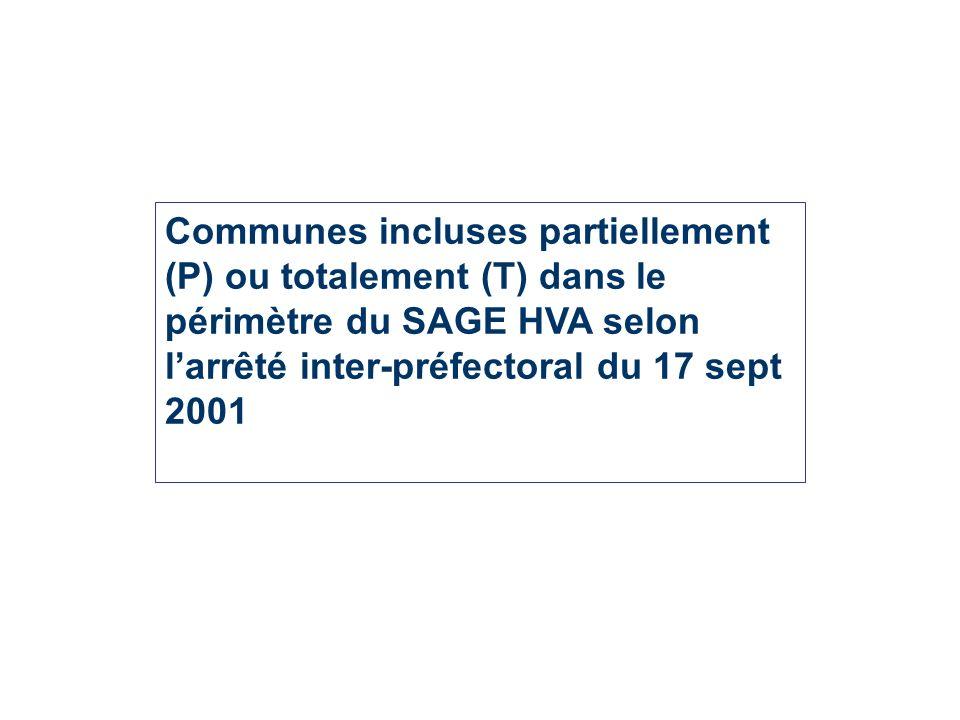 Communes incluses partiellement (P) ou totalement (T) dans le périmètre du SAGE HVA selon larrêté inter-préfectoral du 17 sept 2001