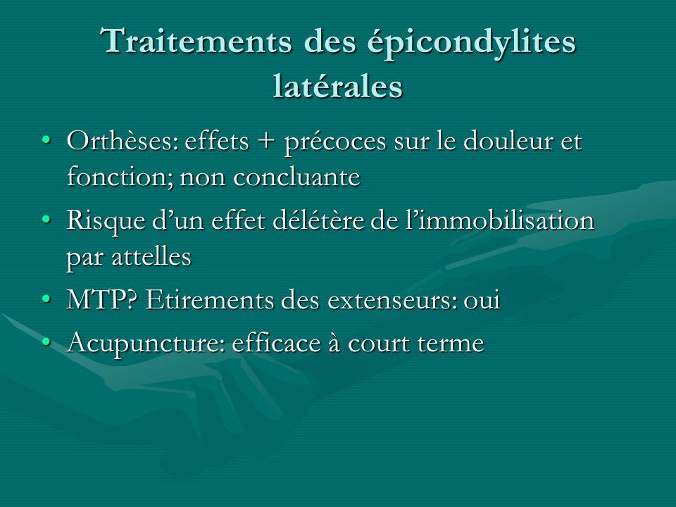 Traitements des épicondylites latérales Orthèses: effets + précoces sur le douleur et fonction; non concluanteOrthèses: effets + précoces sur le doule