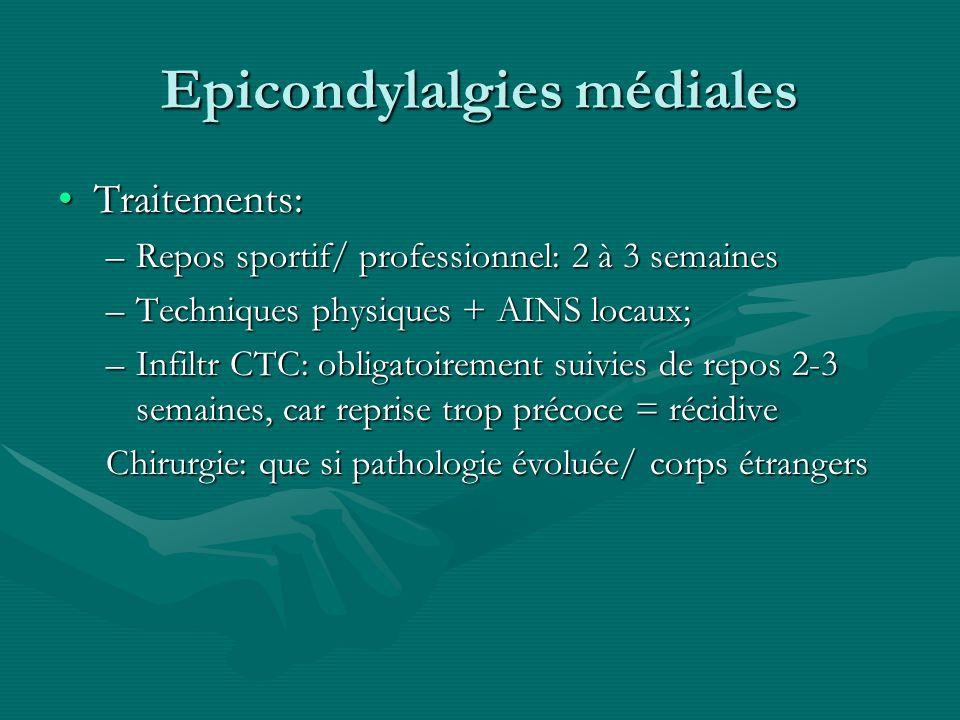 Epicondylalgies médiales Traitements:Traitements: –Repos sportif/ professionnel: 2 à 3 semaines –Techniques physiques + AINS locaux; –Infiltr CTC: obl