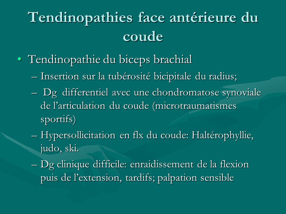 Tendinopathies face antérieure du coude Tendinopathie du biceps brachialTendinopathie du biceps brachial –Insertion sur la tubérosité bicipitale du ra