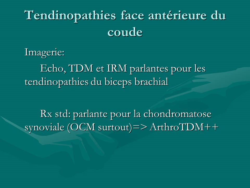Tendinopathies face antérieure du coude Imagerie: Echo, TDM et IRM parlantes pour les tendinopathies du biceps brachial Rx std: parlante pour la chond