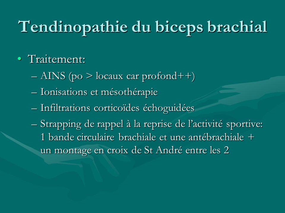 Tendinopathie du biceps brachial Traitement:Traitement: –AINS (po > locaux car profond++) –Ionisations et mésothérapie –Infiltrations corticoïdes écho