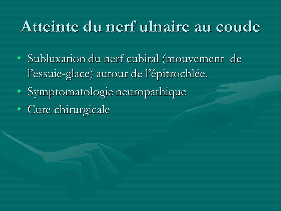 Atteinte du nerf ulnaire au coude Subluxation du nerf cubital (mouvement de lessuie-glace) autour de lépitrochlée.Subluxation du nerf cubital (mouveme