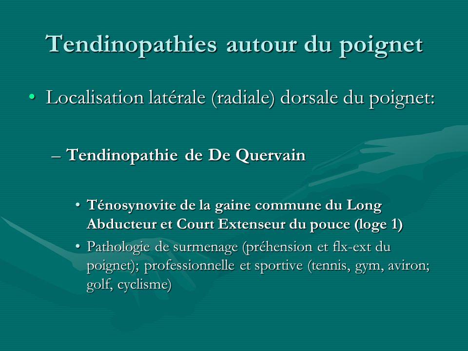 Tendinopathies autour du poignet Localisation latérale (radiale) dorsale du poignet:Localisation latérale (radiale) dorsale du poignet: –Tendinopathie