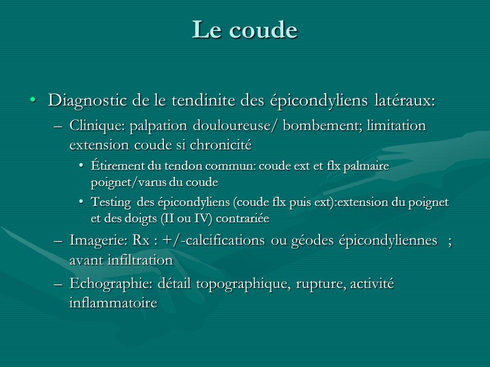 Aï crépitant Tuméfaction crépitante au croisement proximal des radiaux( LERC et CERC) avec le LA pouce et le 1/3 distal du radius (diaphyse osseuse)Tuméfaction crépitante au croisement proximal des radiaux( LERC et CERC) avec le LA pouce et le 1/3 distal du radius (diaphyse osseuse) –Bursite (car pas de gaine ténosynoviale à ce niveau), env 4 cm au dessus de la stiloïde radiale –Microtraumatismes répétitifs: golf, tennis, combat.
