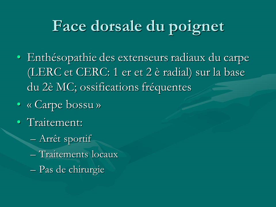 Face dorsale du poignet Enthésopathie des extenseurs radiaux du carpe (LERC et CERC: 1 er et 2 è radial) sur la base du 2è MC; ossifications fréquente