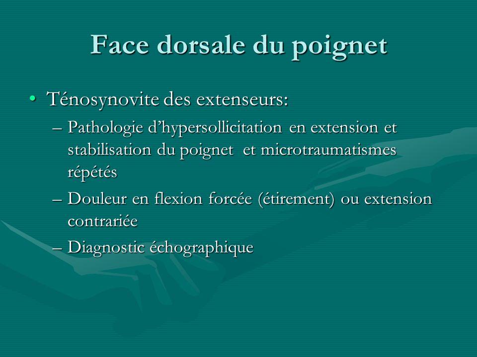Face dorsale du poignet Ténosynovite des extenseurs:Ténosynovite des extenseurs: –Pathologie dhypersollicitation en extension et stabilisation du poig