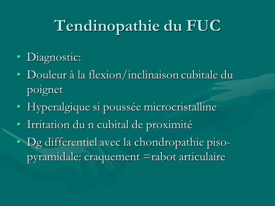 Tendinopathie du FUC Diagnostic:Diagnostic: Douleur à la flexion/inclinaison cubitale du poignetDouleur à la flexion/inclinaison cubitale du poignet H