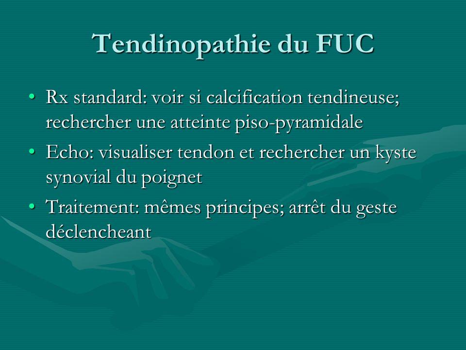 Tendinopathie du FUC Rx standard: voir si calcification tendineuse; rechercher une atteinte piso-pyramidaleRx standard: voir si calcification tendineu