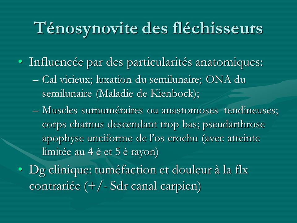 Ténosynovite des fléchisseurs Influencée par des particularités anatomiques:Influencée par des particularités anatomiques: –Cal vicieux; luxation du s
