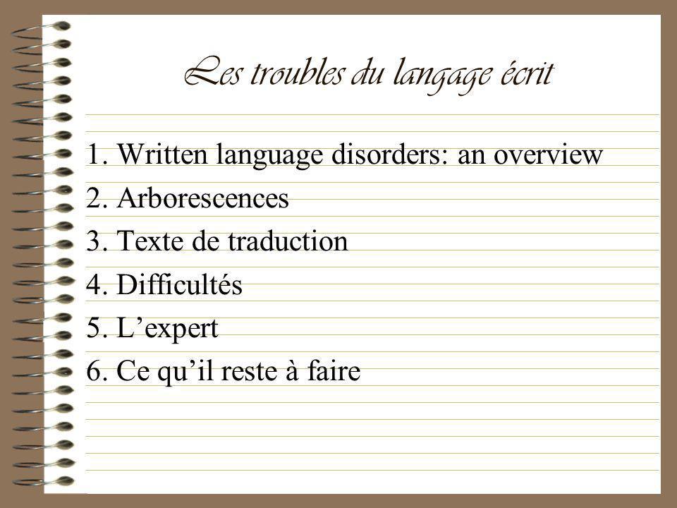 Les troubles du langage écrit 1. Written language disorders: an overview 2. Arborescences 3. Texte de traduction 4. Difficultés 5. Lexpert 6. Ce quil