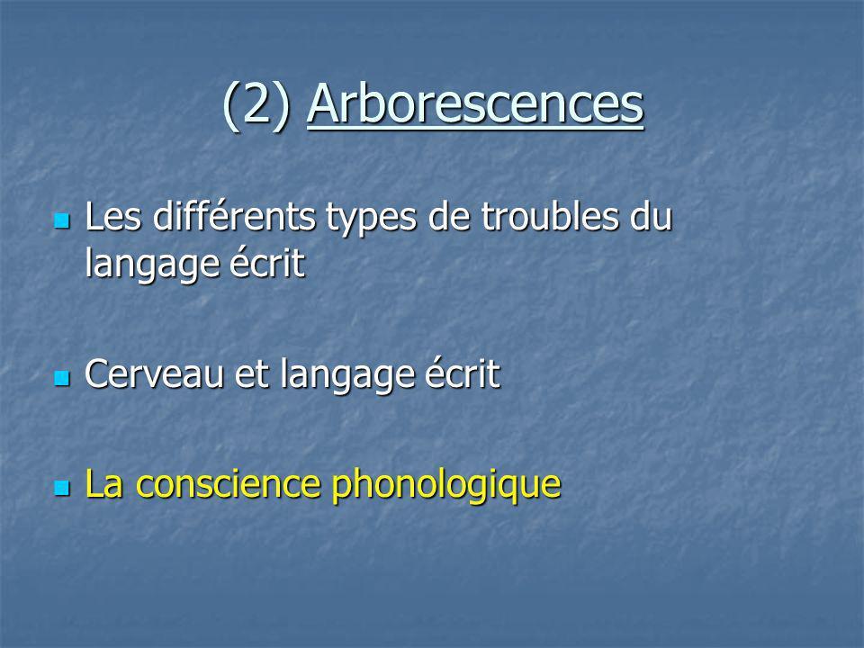 (2) Arborescences Les différents types de troubles du langage écrit Les différents types de troubles du langage écrit Cerveau et langage écrit Cerveau