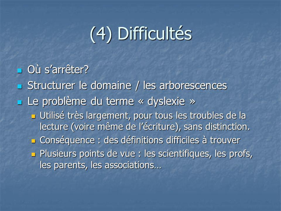 (4) Difficultés Où sarrêter? Où sarrêter? Structurer le domaine / les arborescences Structurer le domaine / les arborescences Le problème du terme « d