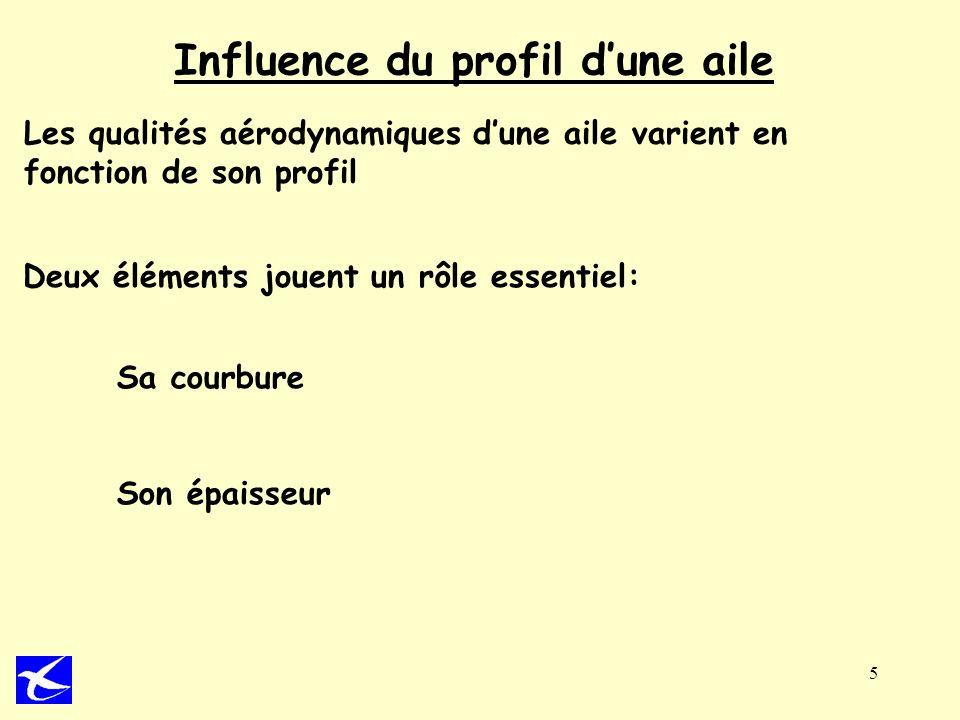 5 Influence du profil dune aile Les qualités aérodynamiques dune aile varient en fonction de son profil Deux éléments jouent un rôle essentiel: Sa cou