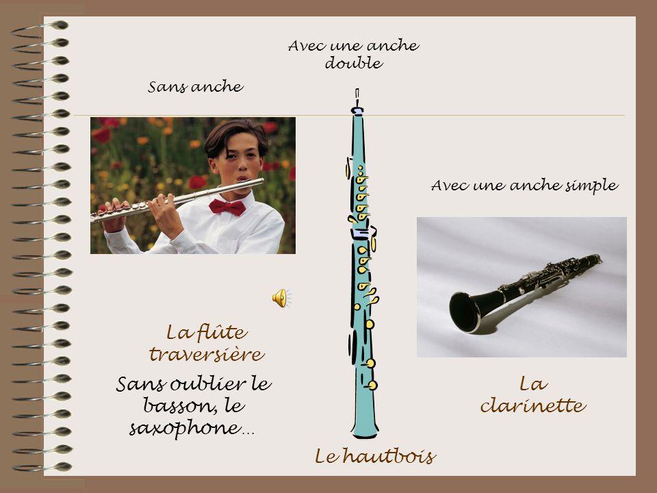 La flûte traversière Le hautbois La clarinette Sans oublier le basson, le saxophone … Sans anche Avec une anche double Avec une anche simple