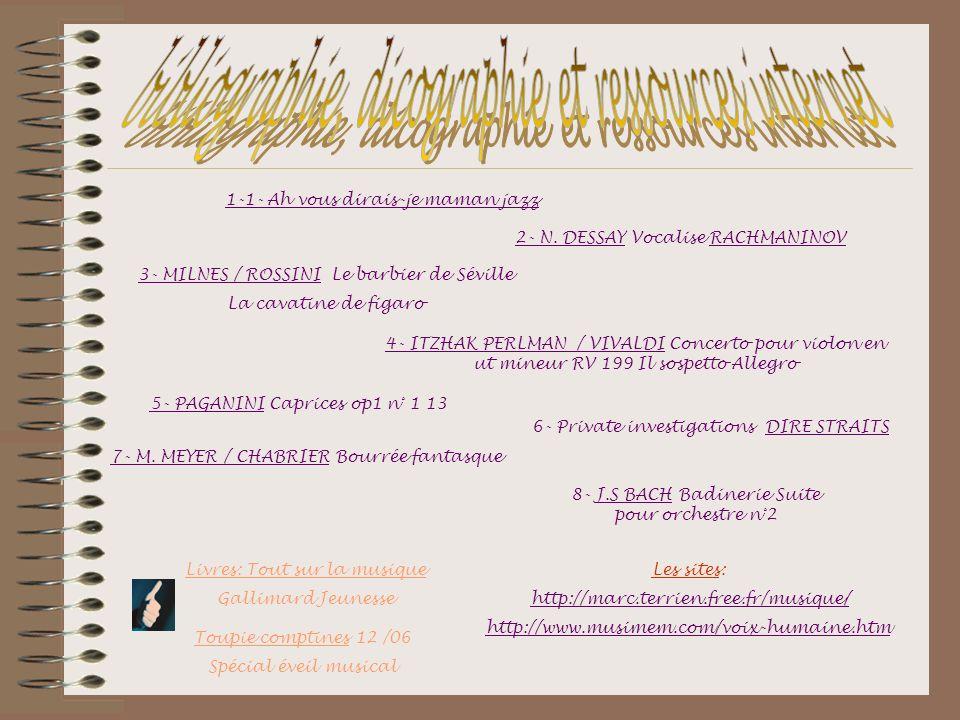 2- N. DESSAY Vocalise RACHMANINOV 3- MILNES / ROSSINI Le barbier de Séville La cavatine de figaro 4- ITZHAK PERLMAN / VIVALDI Concerto pour violon en