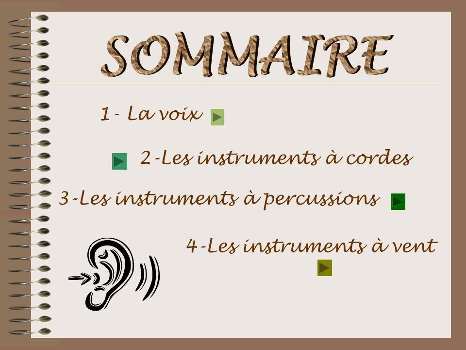 1- La voix 2-Les instruments à cordes 3-Les instruments à percussions 4-Les instruments à vent