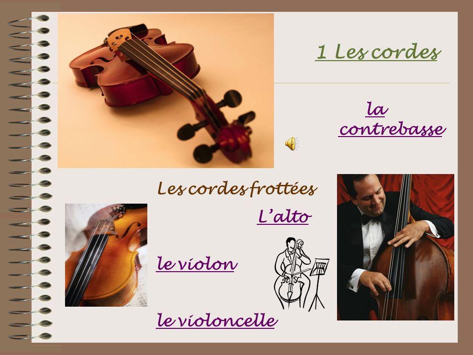 1 Les cordes Les cordes frottées Lalto le violon le violoncelle la contrebasse la contrebasse