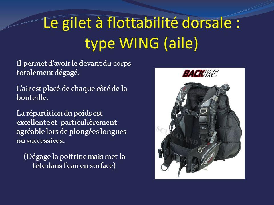 Le gilet à flottabilité dorsale : type WING ( aile ) Il permet davoir le devant du corps totalement dégagé.