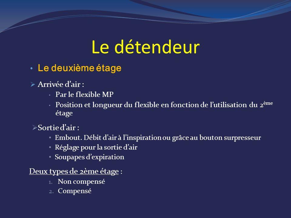 Le détendeur Le deuxième étage Arrivée dair : Par le flexible MP Position et longueur du flexible en fonction de lutilisation du 2 ème étage Sortie dair : Embout.