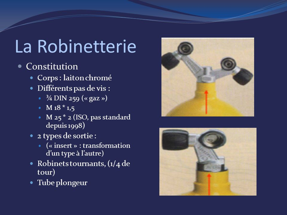 La Robinetterie Constitution Corps : laiton chromé Différents pas de vis : ¾ DIN 259 (« gaz ») M 18 * 1,5 M 25 * 2 (ISO, pas standard depuis 1998 ) 2 types de sortie : (« insert » : transformation dun type à lautre) Robinets tournants, (1/4 de tour) Tube plongeur