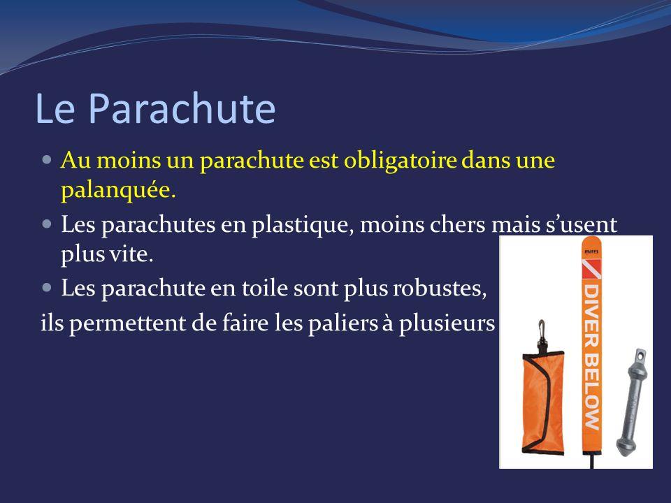 Le Parachute Au moins un parachute est obligatoire dans une palanquée.