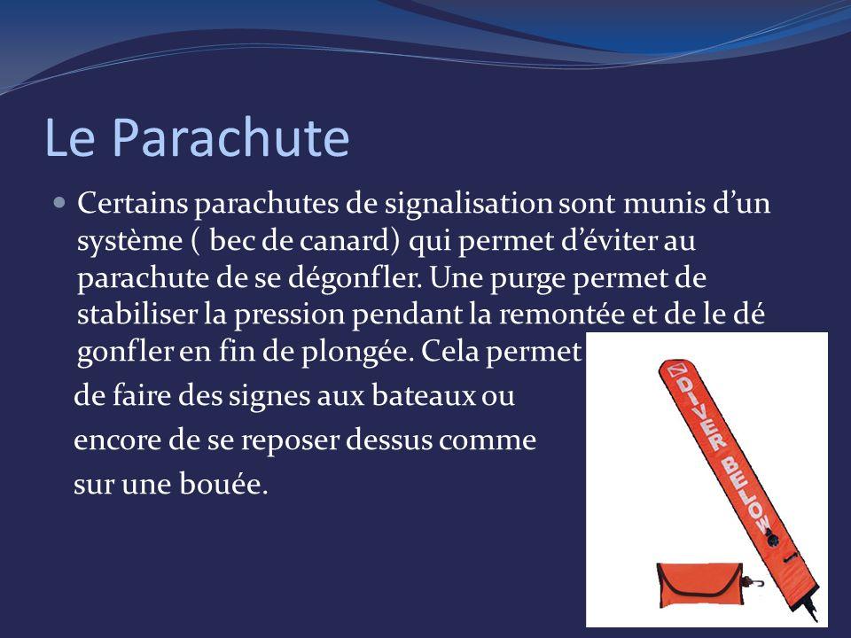 Le Parachute Certains parachutes de signalisation sont munis dun système ( bec de canard) qui permet déviter au parachute de se dégonfler.